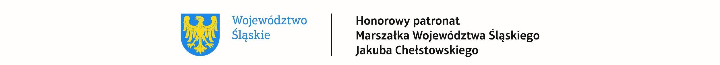 Grafika z herbem województwa śląskiego informująca o patronacie marszałka województwa nad konkursem