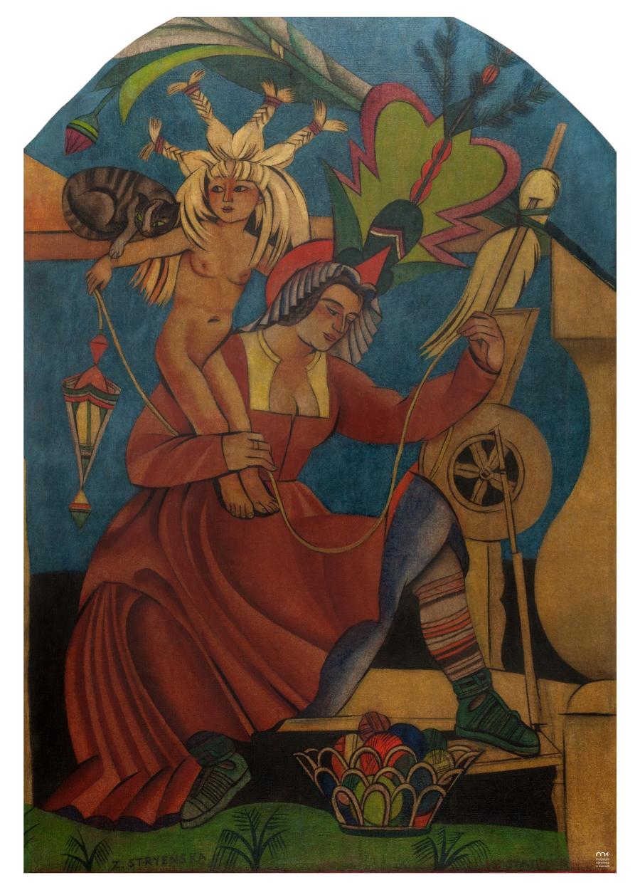 Kobieta, która przędzie. Grafika Zofii Stryjeńskiej (Zofia Stryjeńska, Prządka - fragment kompozycji Marzec Kwiecień Dyngus).