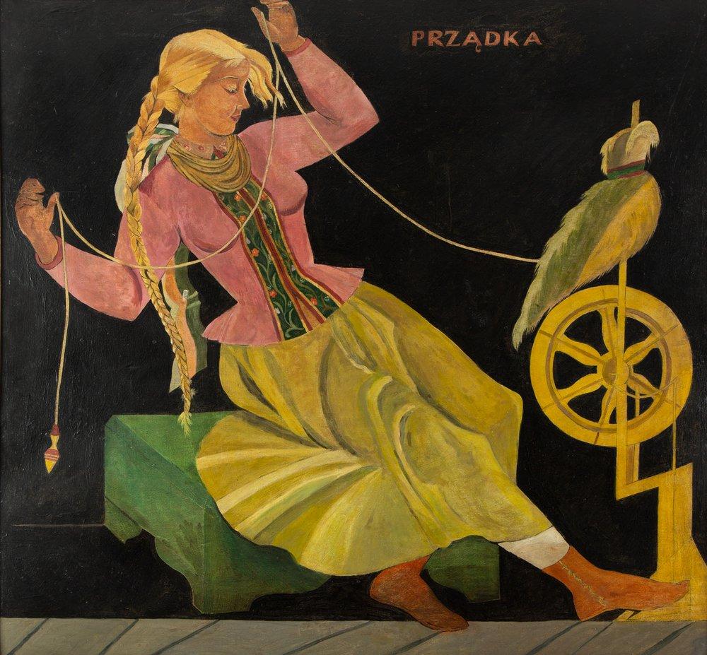 Kobieta, która przędzie. Grafika Zofii Stryjeńskiej