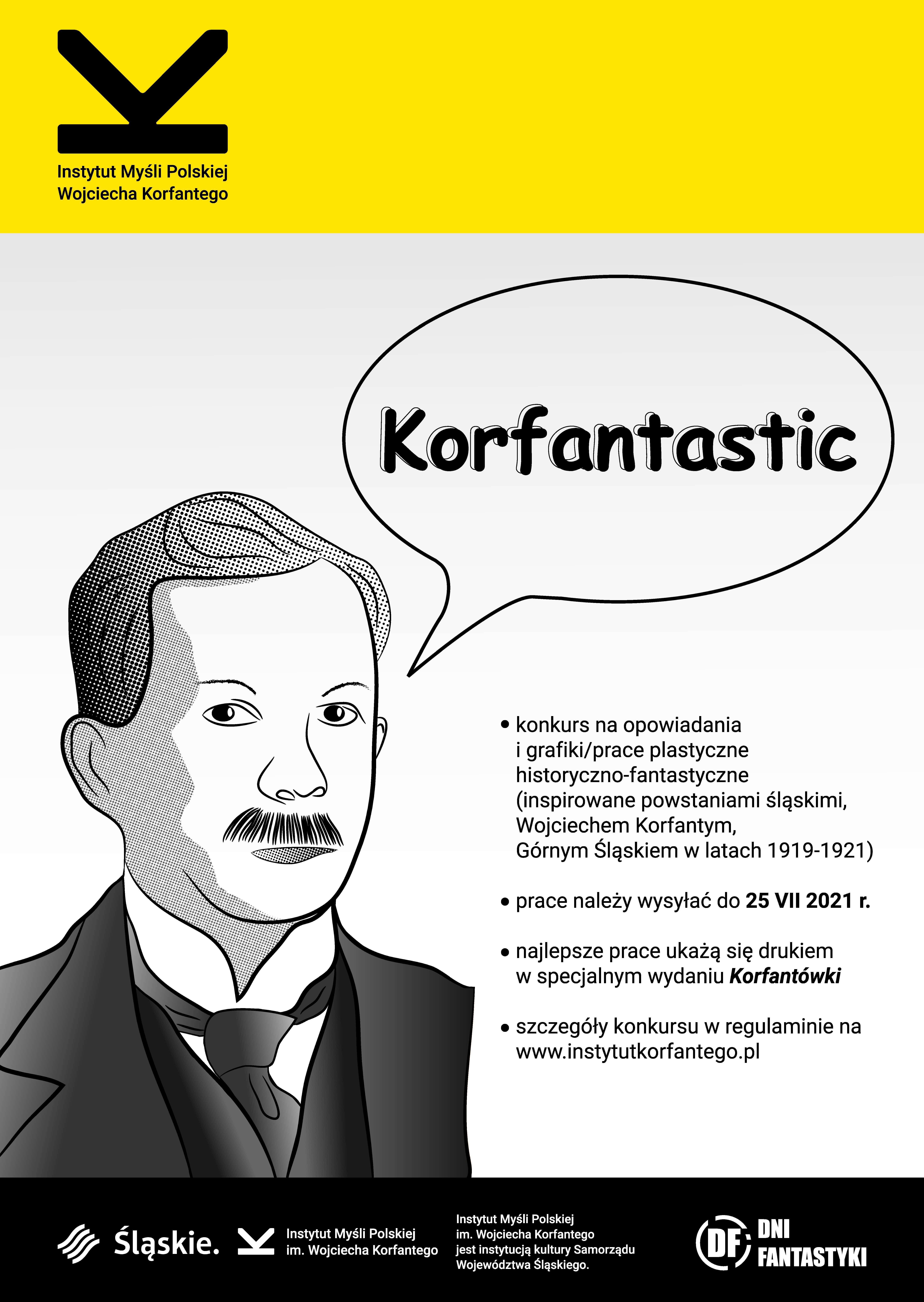 Grafika-szkic głowy Wojciecha Korfantego. Z głowy wystaje chmurka w konwencji komiksowej z napisem