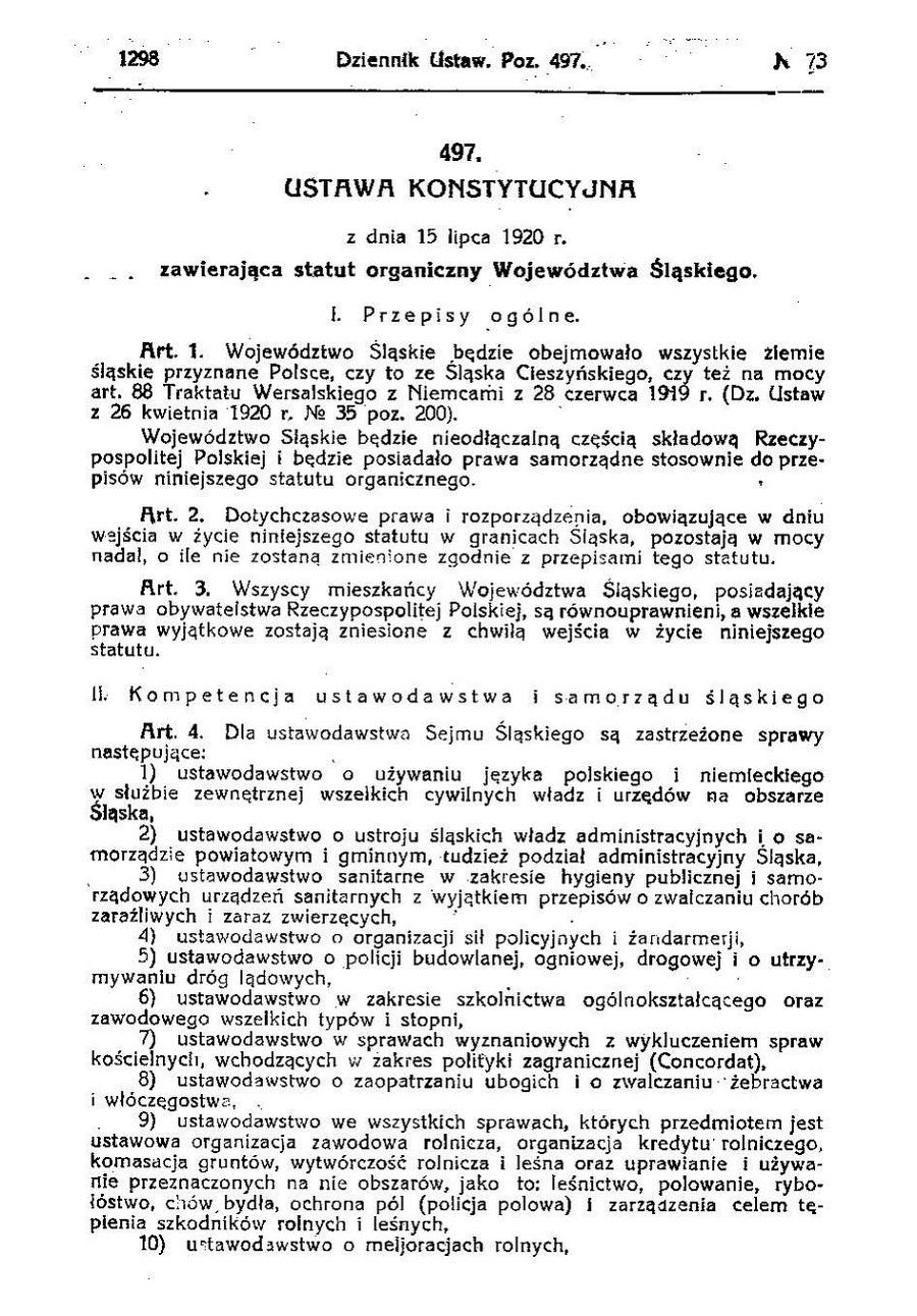 treść 1 strony Statutu Organicznego Województwa Śląskiego